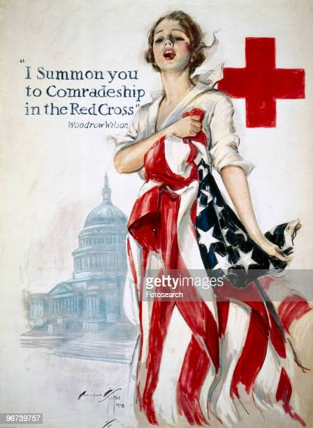 Poster issued by the American Red Cross with the caption 'I summon you to comradeship in the Red Cross' a quote from US President Woodrow Wilson The...