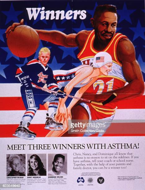 Poster issued by the National Asthma Education Program, depicting three athletes with asthma in front of an American flag, encouraging those with...