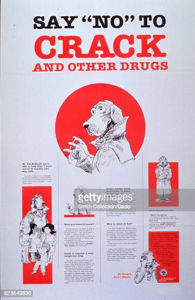 Poster issued by the United States Department of Education depicting McGruff the Crime Dog in various situations educating viewers about crack use...