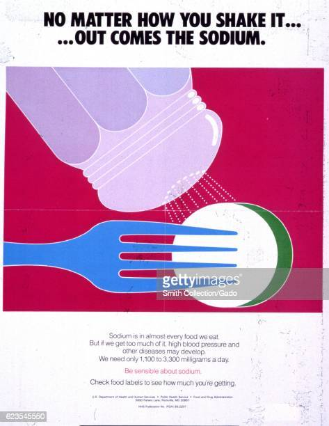 Poster issued by the United States Food and Drug Administration depicting a salt shaker and a fork encouraging people to monitor their sodium intake...