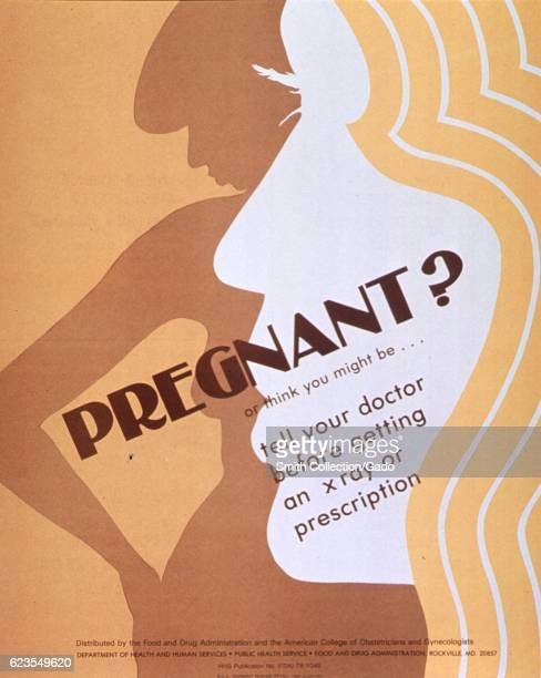 Poster issued by the United States Food and Drug Administration depicting the silhouette of a woman's body and the face of a woman in profile...