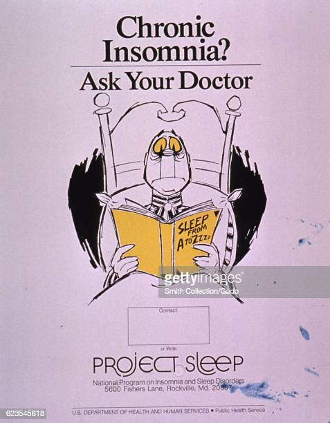 Poster issued by the United States National Program on Insomnia and Sleep Disorders depicting a man reading in bed encouraging people with chronic...