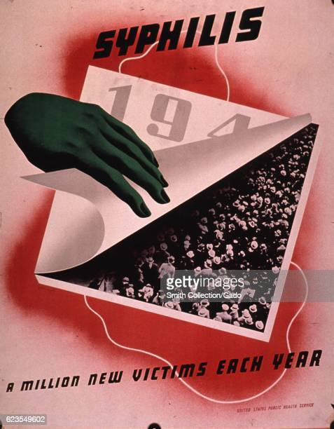 Poster issued by the United States Public Health Service depicting a hand pulling up a calendar page revealing a photograph of a crowd of people...