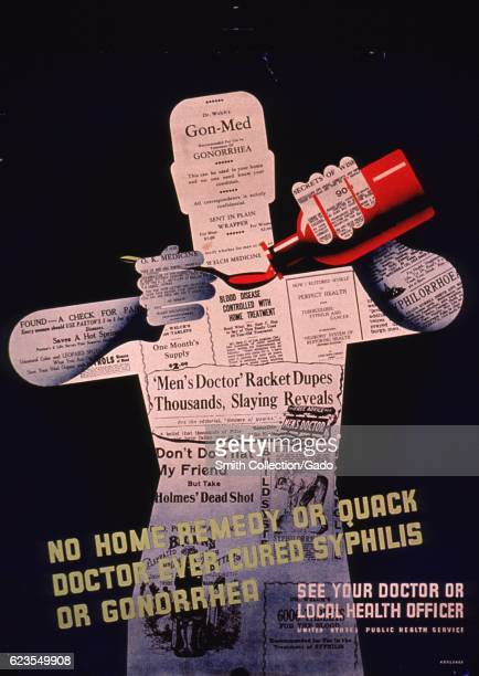 Poster issued by the United States Public Health Service showing a figure made of clippings and advertisements about cures for venereal disease...
