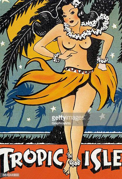 Poster of a Hawaiian hula girl dancing topless on a 'Tropic Isle' 1940s Screen print