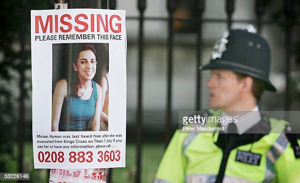 A poster of a missing person attached to a pole is seen near the site of the Tavistock Square bus bomb on July 12 2005 in London A massive police...