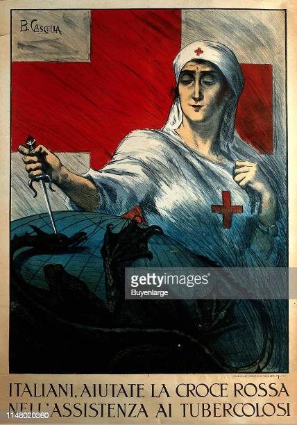A poster of a nurse stabbing a dragon which holds the globe in its claws representing assistance to the tuberculous from the Italian Red Cross A...