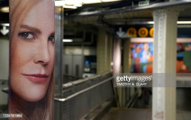 """Poster of actress Nicole Kidman in New York on August 19 promoting the mystery thriller, """"Nine Perfect Strangers,"""" to premiere on the streaming..."""