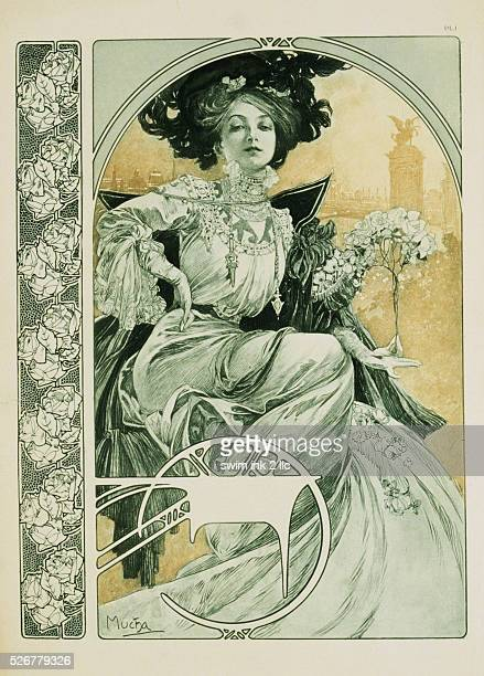 Poster of an Elegant Woman in Repose by Alphonse Marie Mucha