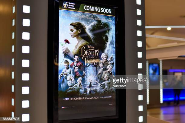 A poster of Beauty and the Beast displayed in LCD at a Golden Screen Cinemas theatre in Kuala Lumpur on March 14 2017 Major cinema chains in...