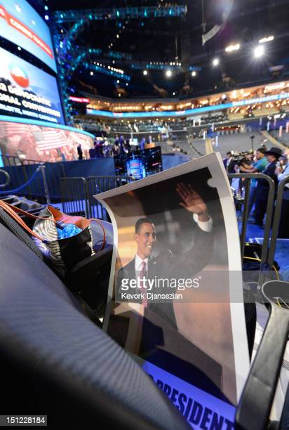 Poster of Democratic presidential candidate, U.S. President Barack Obama sits on a seat during day one of the Democratic National Convention at Time...