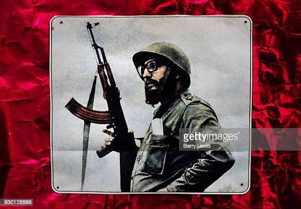 Poster of Fidel Castro with the message 25th Anniversery of the Triumph of the Revolution July 1984 Santiago Cuba Fidel Alejandro Castro Ruz was a...