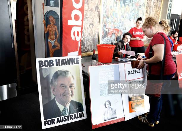A poster of former Australian Prime Minister Bob Hawke is seen before Labor Leader Bill Shorten addressed supporters at Bowman Hall in Blacktown on...