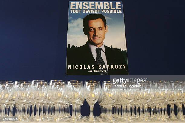 A poster of French Presidential candidate and UMP political party leader Nicolas Sarkozy is seen in the Gaveau Hall where Sarkozy delivered a speech...