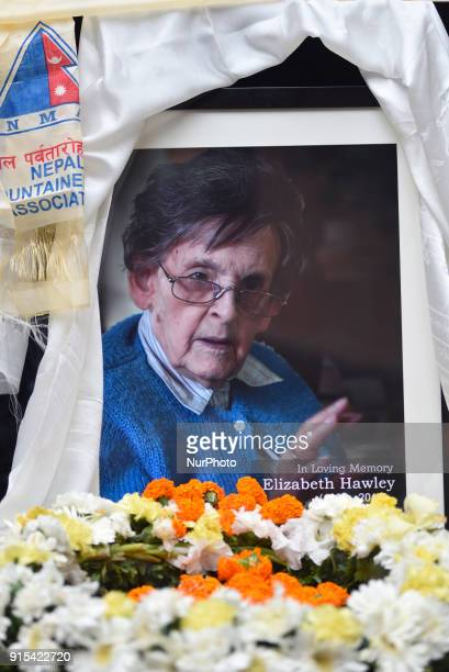 A Poster of Legendary Elizabeth Hawley during the condolence meeting at Nepal Tourism Board Kathmandu Nepal on Wednesday February 07 2018 She died in...