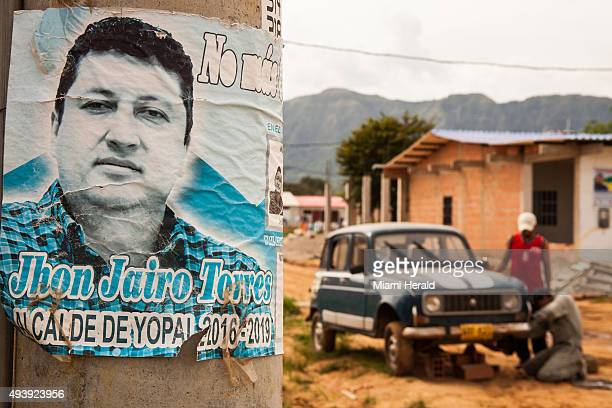 A poster of mayoral candidate Jhon Jairo Torres in la Ciudadela 2 in Yopal Colombia the second urban housing project he organized and constructed in...