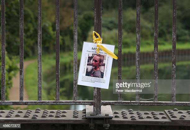 A poster of missing schoolgirl Alice Gross hangs on a bridge over The Grand Union Canal at the location of her last sighting on September 25 2014 in...