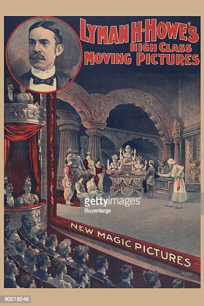 A poster of people watching motion picture in theater includes insert of headandshoulders portrait of Lyman H Howe