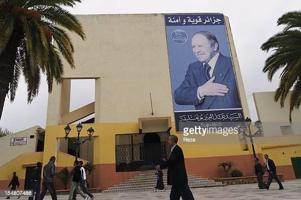 Poster of president Abd El Aziz Bouteflika on April 12 in Tlemcen Algeria
