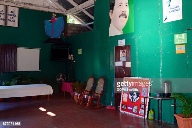 A poster of President Daniel Ortega is pasted on a wall at the headquarter of the Sandinista National Liberation Front party in Altagracia Isla...