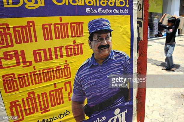 A poster of slain Liberation Tigers of Tamil Eelam leader Velupillai Prabhakaran is seen in Mumbai on May 26 2009 Sri Lanka's Tamil Tigers on May 24...