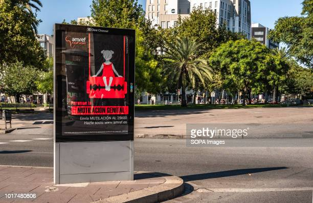 A poster of the campaign against female genital mutilation is seen in Barcelona Amref Health Africa the largest international health organization of...