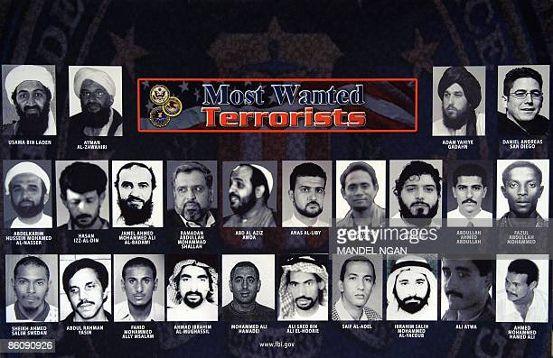 A poster of the FBI's most wanted terrorist is seen at a press conference where FBI Assistant Director of the Counterterrorism Division Michael J...