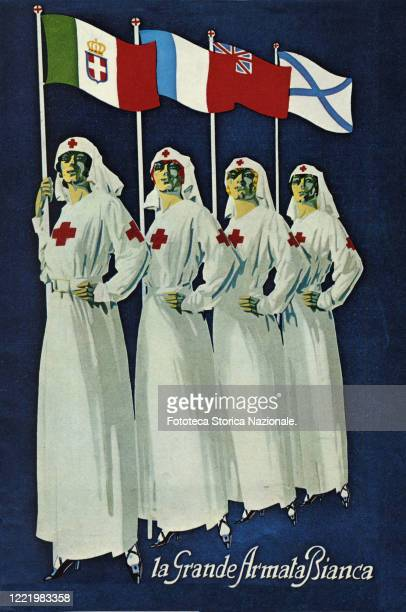 Poster of the Italian Red Cross with the flags of the allied nations. Photolithograph, Italy, approx. 1915.