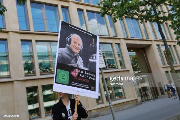 Poster of the movie 'Das Leben der Anderen' which won an academy award with the face of Horst Seehofer Several ten thousands demonstrate against the...