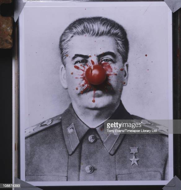 A poster of the Soviet dictator Joseph Stalin for the film 'Red Monarch' and the image that inspired Red Nose Day 1983
