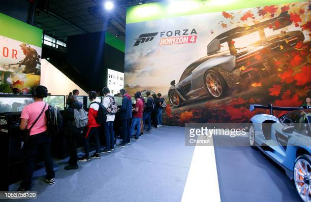 Poster of the video game 'Forza Horizon 4' developed by Playground Games and published by Microsoft Studios is displayed during the 'Paris Games...