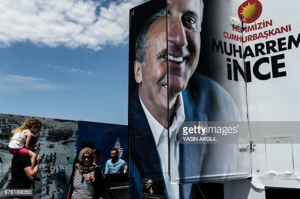 A poster of Turkey's main opposition party presidential candidate Muharrem Ince is seen during a preelection rally in Istanbul on June 16 2018