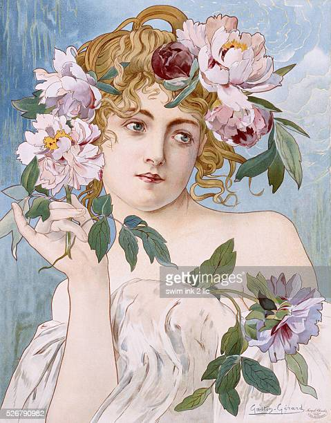 Poster of Young Woman with Flowers in Hair by GastonGerard