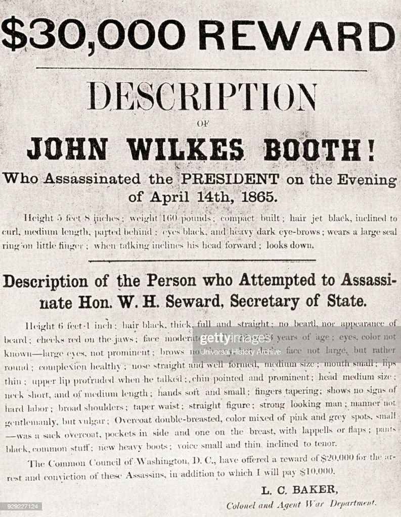 poster offering a 30 000 reward for the arrest of john wilkes booth