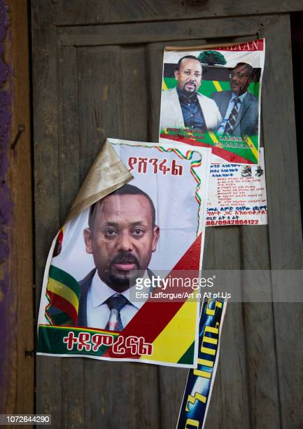 Poster on a house with the picture of ethiopian prime minister abiy ahmed Afar region Semera Ethiopia on November 2 2018 in Semera Ethiopia