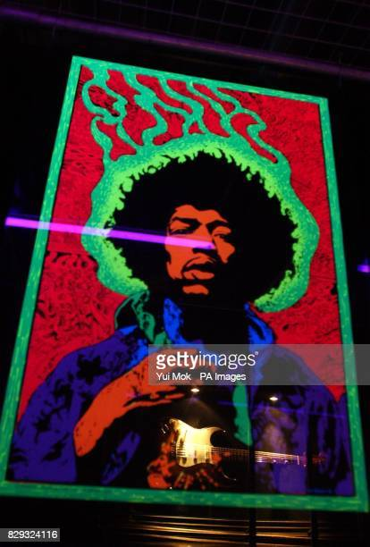 A poster on display at the press preview for the exhibition Jimi At The Marquee featuring the world's largest collection of Jimi Hendrix memorabilia...