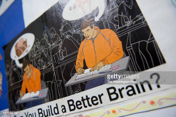 A poster on exercising the brain hangs in a classroom At Rocky Hill middle school in Clarksburg MD teachers are using brain research to help them...