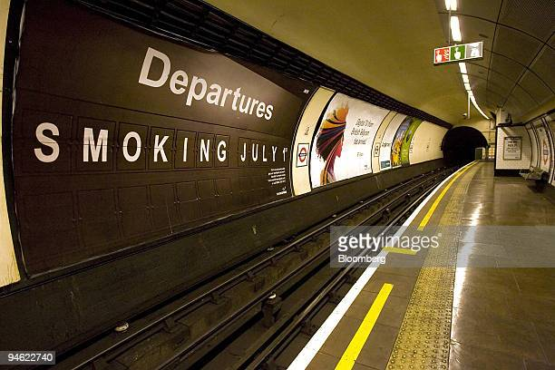 A poster on the London Underground displays the date for the implementation of England's smoke free policy in London UK on Monday June 18 2007Smoking...