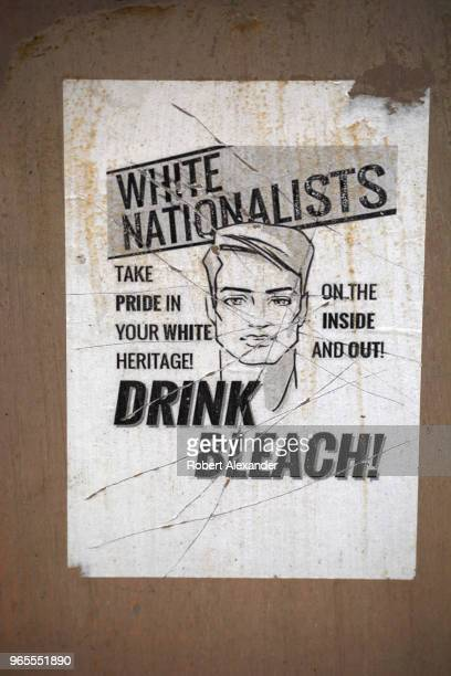 A poster or flyer glued to a wall in Alexandria Virginia mocks white nationalists