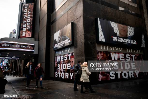A poster outisde the Broadway Theater advertises West Side Story on February 7 2020 in New York City Westside Story is returning to Broadway for the...