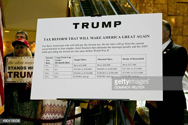 A poster outlining Republican presidential hopeful Donald Trump's tax plan is shown during a press conference at Trump Tower in New York on September...