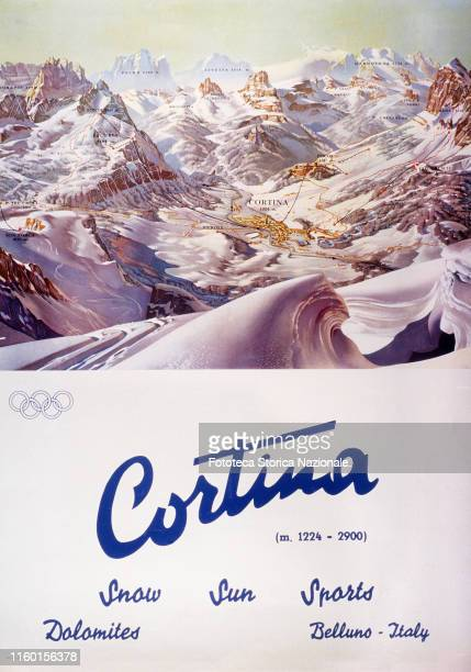 Poster paper guide with the ski lifts including the Olympic slopes The famous ski resort was been the site of the 7° Winter Olympics Four colour...