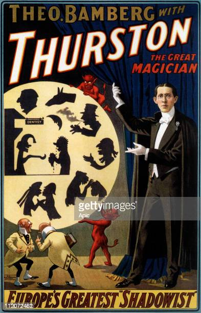 Poster presenting dutch conjuror Okito as shadowgrapher in show of Howard Thurston 1910