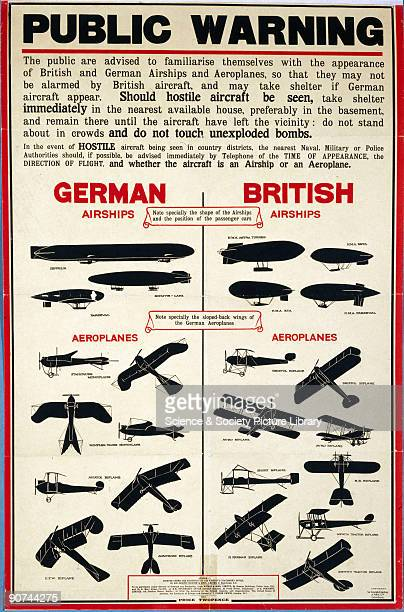 Poster printed for HMSO by Sir Joseph Causton and Sons Ltd London showing silhouettes of German and British airships and aeroplanes These recognition...