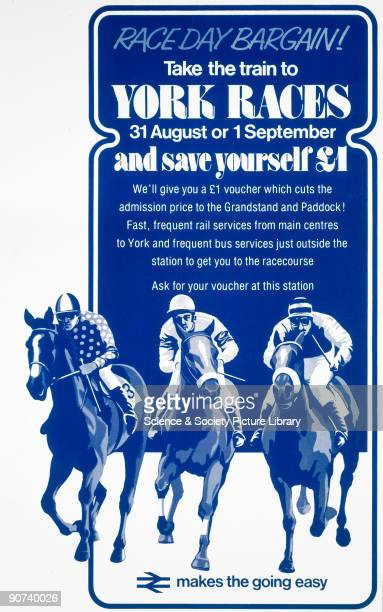 Poster produced by British Railways to promote rail services to the York Races A rail ticket entitled the passenger to £1 off the admission price to...