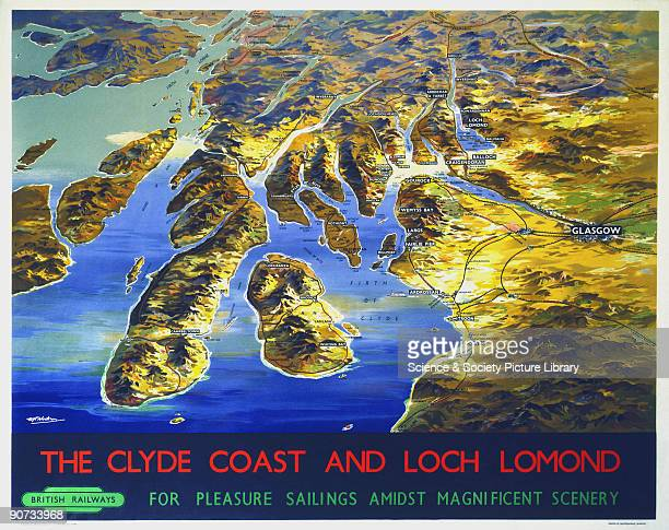 Poster produced by British Railways to promote rail travel to Loch Lomond and the Clyde Coast of Scotland �for pleasure sailings amidst magnificent...