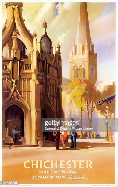 Poster produced by British Railways to promote rail travel to Chichester West Sussex The poster shows a view of Chichester Cathedral Construction of...