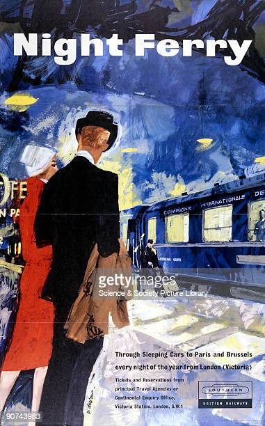Poster produced by British Railways to promote the company�s overnight service to Paris and Brussels This poster is identical to a Frenchlanguage...