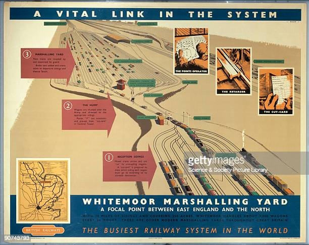 Poster produced by British Railways to promote the efficiency of Whitemoor Marshalling Yard, �a focal point between East England and the North�. The...