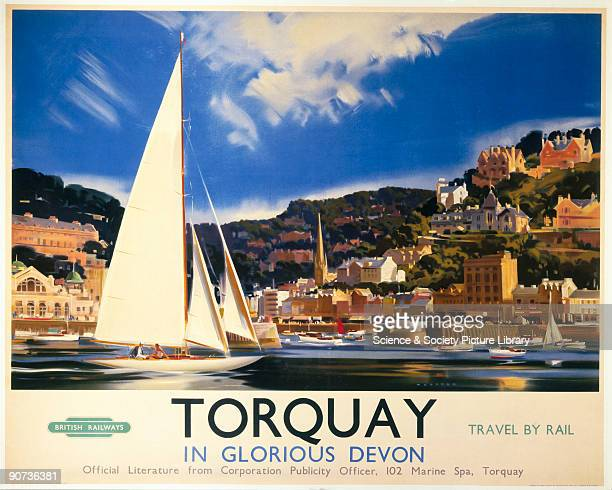 Poster produced by British Railways to promote their services to the holiday destination of Torquay. Artwork by Wootton.